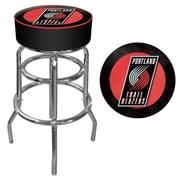 Trademark Global® Vinyl Padded Swivel Bar Stool, Black, Portland Trail Blazers NBA