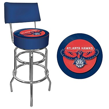 Trademark Global® Vinyl Padded Swivel Bar Stool With Back, Blue, Atlanta Hawks NBA