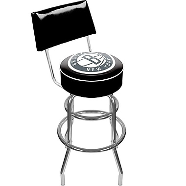 Trademark Global® Vinyl Padded Swivel Bar Stool With Back, Black, Brooklyn Nets NBA