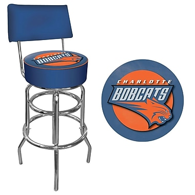 Trademark Global® Vinyl Padded Swivel Bar Stool With Back, Blue, Charlotte Bobcats NBA