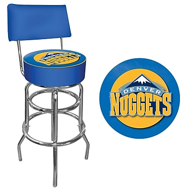 Trademark Global® Vinyl Padded Swivel Bar Stool With Back, Blue, Denver Nuggets NBA