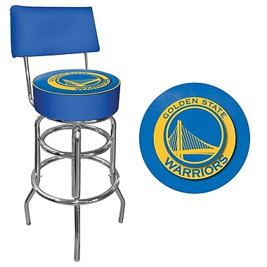 Trademark Global® Vinyl Padded Swivel Bar Stool With Back, Blue, Golden State Warriors NBA