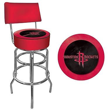 Trademark Global® Vinyl Padded Swivel Bar Stool With Back, Red, Houston Rockets NBA