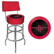 Trademark Global® Vinyl Padded Swivel Bar Stool With Back, Red, Houston Rockets NBA