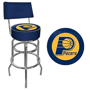 Trademark Global® Vinyl Padded Swivel Bar Stool With Back, Blue, Indiana Pacers NBA