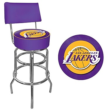 Trademark Global® Vinyl Padded Swivel Bar Stool With Back, Purple, Los Angeles Lakers NBA