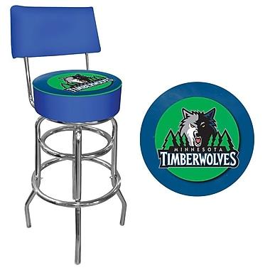 Trademark Global® Vinyl Padded Swivel Bar Stool With Back, Blue, Minnesota Timberwolves NBA
