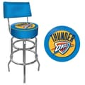 Trademark Global® Vinyl Padded Swivel Bar Stool With Back, Blue, Oklahoma City Thunder NBA