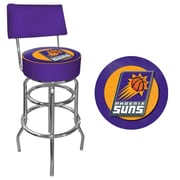 Trademark Global® Vinyl Padded Swivel Bar Stool With Back, Purple, Phoenix Suns NBA