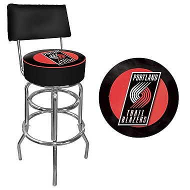 Trademark Global® Vinyl Padded Swivel Bar Stool With Back, Black, Portland Trail Blazers NBA