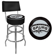 Trademark Global® Vinyl Padded Swivel Bar Stool With Back, Black, San Antonio Spurs NBA
