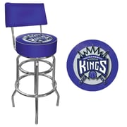 Trademark Global® Vinyl Padded Swivel Bar Stool With Back, Blue, Sacramento Kings NBA