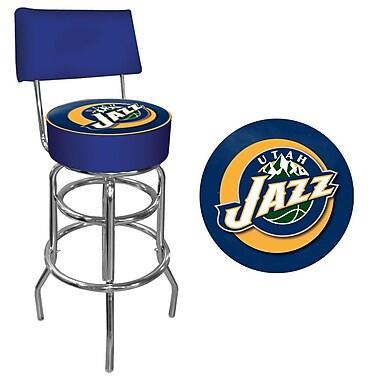 Trademark Global® Vinyl Padded Swivel Bar Stool With Back, Blue, Utah Jazz NBA