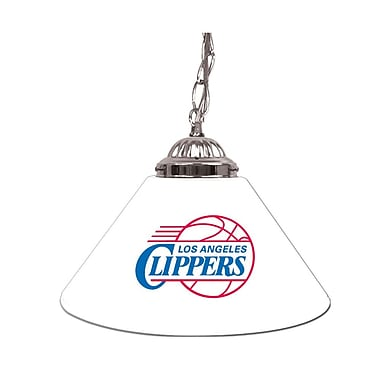 Trademark Global® 14in. Single Shade Bar Lamp, White, Los Angeles Clippers NBA