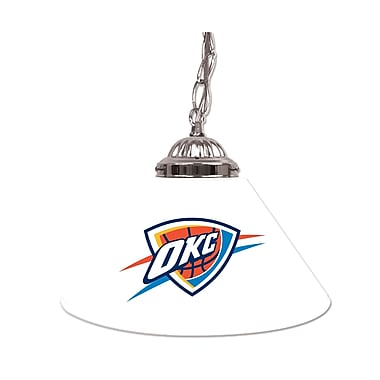 Trademark Global® 14in. Single Shade Bar Lamp, White, Oklahoma City Thunder NBA