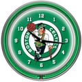 Trademark Global® Chrome Double Ring Analog Neon Wall Clock, Boston Celtics NBA