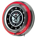 Trademark Global® Chrome Double Ring Analog Neon Wall Clock, Brooklyn Nets NBA