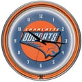 Trademark Global® Chrome Double Ring Analog Neon Wall Clock, Charlotte Bobcats NBA