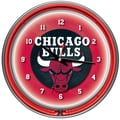 Trademark Global® Chrome Double Ring Analog Neon Wall Clock, Chicago Bulls NBA