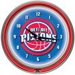 Trademark Global® Chrome Double Ring Analog Neon Wall Clock, Detroit Pistons NBA