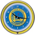 Trademark Global® Chrome Double Ring Analog Neon Wall Clock, Golden State Warriors NBA