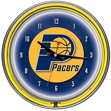 Trademark Global® Chrome Double Ring Analog Neon Wall Clock, Indiana Pacers NBA