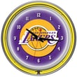 Trademark Global® Chrome Double Ring Analog Neon Wall Clock, Los Angeles Lakers NBA