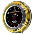 Trademark Global® Chrome Double Ring Analog Neon Wall Clock, Miami Heat 2013 NBA Champions NBA