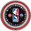 Trademark Global® Chrome Double Ring Analog Neon Wall Clock, Logo 30 Team NBA