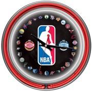 Trademark Global® Chrome Double Ring Analog Neon Wall Clock, Logo 30 Team NBA