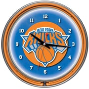 Trademark Global® Chrome Double Ring Analog Neon Wall Clock, New York Knicks NBA