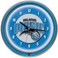 Trademark Global® Chrome Double Ring Analog Neon Wall Clock, Orlando Magic NBA