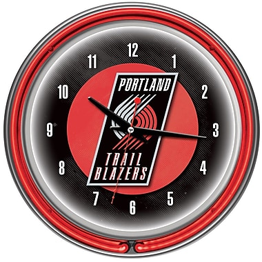 Trademark Global® Chrome Double Ring Analog Neon Wall Clock, Portland Trail Blazers NBA