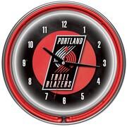 Trademark Global® Chrome Double Ring Analog Neon Wall Clock, Portland Trail Blazers NBA