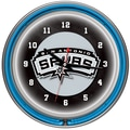 Trademark Global® Chrome Double Ring Analog Neon Wall Clock, San Antonio Spurs NBA
