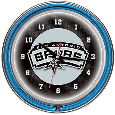 Trademark Global® Chrome Double Ring Analog Neon Wall Clock, San Antonio Spurs NBA