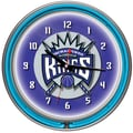 Trademark Global® Chrome Double Ring Analog Neon Wall Clock, Sacramento Kings NBA