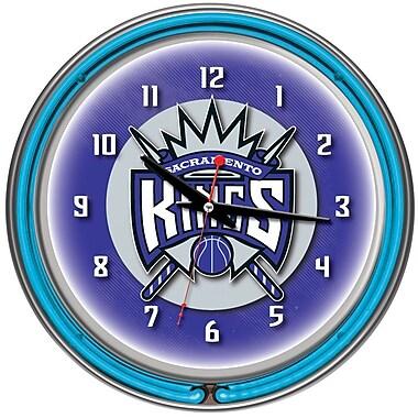 Trademark Global® Chrome Double Ring Analog Neon Wall Clock, Sacramento Kings NBA
