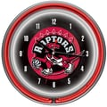 Trademark Global® Chrome Double Ring Analog Neon Wall Clock, Toronto Raptors NBA