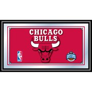 "Trademark Global® 15"" x 27"" Black Wood Framed Mirror, Chicago Bulls NBA"