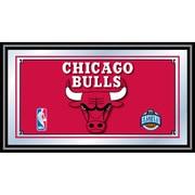 "Trademark Global® 15"" x 27"" Black Wood Framed Mirror, Chicago Bulls NBA"