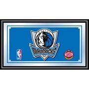 "Trademark Global® 15"" x 27"" Black Wood Framed Mirror, Dallas Mavericks NBA"