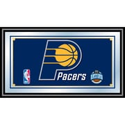 "Trademark Global® 15"" x 27"" Black Wood Framed Mirror, Indiana Pacers NBA"