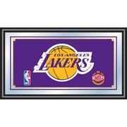 """Trademark Global® 15"""" x 27"""" Black Wood Framed Mirror, Los Angeles Lakers NBA"""