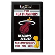 "Trademark Global® 15"" x 27"" Black Wood Framed Mirror, Miami Heat 2013 NBA Champions NBA"