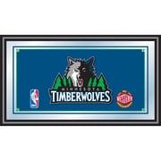 "Trademark Global® 15"" x 27"" Black Wood Framed Mirror, Minnesota Timberwolves NBA"