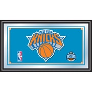 "Trademark Global® 15"" x 27"" Black Wood Framed Mirror, New York Knicks NBA"