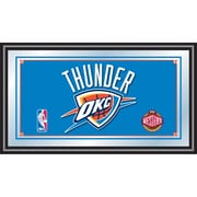 "Trademark Global® 15"" x 27"" Black Wood Framed Mirror, Oklahoma City Thunder NBA"