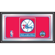Trademark Global® 15 x 27 Black Wood Framed Mirror, Philadelphia 76ers NBA