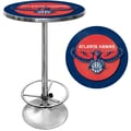 Trademark Global® 27.37in. Solid Wood/Chrome Pub Table, Blue, Atlanta Hawks NBA